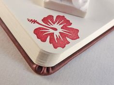 NEW ITEM  tropical hibiscus flower  hand carved by paperfruithair, $6.89