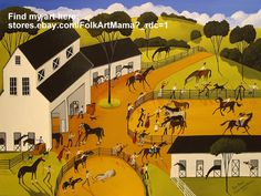 """""""1st Prize"""" Horse show competition stable arena rider jumping trick pony farm country western english western primitive cat dog saddle folk art painting"""