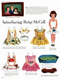 Introducing Betsy McCall paper doll, the debut appearance of Betsy McCall (as well as dog Nosey too), published in the May issue of McCall's magazine, United States, 1951, by Kay Morrissey.