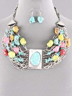 Chunky Multi Colored Turquoise Statement Necklace