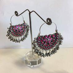 Oxidized Silver Afghani Tribal Dangler Hook Chandbali Earrings - Sarang