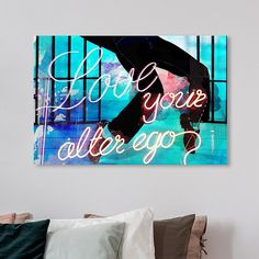 """Oliver Gal """"love Your Alter Ego"""" 60"""" X 40"""" Canvas Wall Art Black - Liven up your wall décor with the Oliver Gal """"Love Your Alter Ego"""" Canvas Wall Art. This trendy, gallery wrapped piece features the modern typography emboldened in a neon font cast on a vibrant dance floor background. #TileEffectLaminateFlooring Tile Effect Laminate Flooring, Vinyl Plank Flooring, Man Cave Flooring Ideas, Discount Wood Flooring, Wall Décor, Canvas Wall Art, Best Laminate, Modern Typography, Oliver Gal"""