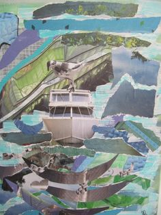 boat - mixed media - collage - acryl - paper