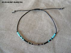 Bracelet d'amitié réglable en perles Miyuki delicas Noir, turquoise et argenté Minimalisme Bohochic Bohemian Bohostyle : Bracelet par m-comme-maryna