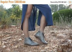 SALE 20% OFF, Porto, Grey Leather Booties, Leather Boots, Grey Boots, Leather Ankle Boots, Flat Boots, Winter Shoes, Closed Shoes