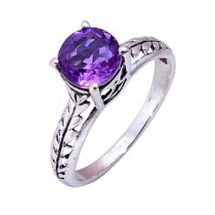 Natural Amethyst Ring Wedding Engagement 925 Solid Sterling Silver Jewelry #Handmade #Filigiri #Wedding