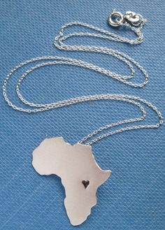 Africa necklace 2cm africa pendant africa with heart silver africa map necklace by sudlow on etsy aloadofball Image collections