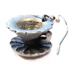 Pewter Earrings, Teacup, Silver Pierced