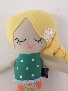 """This is a #handmade #doll by #Stapley dolls. Each one is unique and handcrafted.  She is about 20"""" tall Hand stitched face Blonde Non-pill hair Super soft and made to be playe... #dolls #plush #stapley #custom #stapleydolls #blonde"""