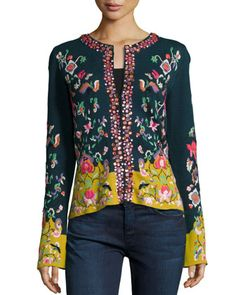 Embroidered Folkloric Cardigan, Women\'s   by Michael Simon at Neiman Marcus.