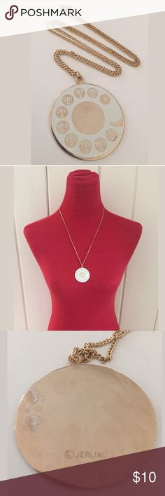"""Vintage Rotary Telephone Dial Necklace White print on faux gold medallion. By Jeri Inc. 24"""" faux gold chain.  Unworn vintage deadstock!  Back of medallion has some tarnish due to age. Jewelry Necklaces"""