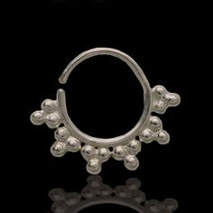 Ornamented Silver Septum For Pierced Nose - Nose jewelry - Septum Jewelry - Indian Nose Ring - Ethnic Septum - Septum Piercing This antique Indian style septum is made of silver and decorated with small silver balls. For pierced nose. Can be worn on the ear as well. Diameter: 14 mm $16.5