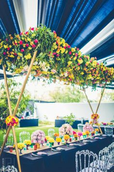 Mehendi Decor Uneesh & Aashna wedding story   WedMeGood   Floral and Colorful Table Setting #wedmegood #indianbride #indianwedding #weddingdecor #floral #colorful #tablesetting
