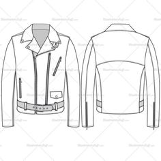 A fashion flat template for Men's leather jacket. This template includes front and back sketch of the leather jacket both CAD and flat sketch, Metal Shank, belt buckle, zipper brush full and half… Clothing Templates, Clothing Sketches, Clothing Logo, Mens Clothing Styles, Fashion Design Jobs, Fashion Design Sketches, Men's Leather Jacket, Leather Men, Leather Jackets