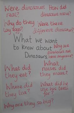 Brainstorming dinosaurs with a class of school children.