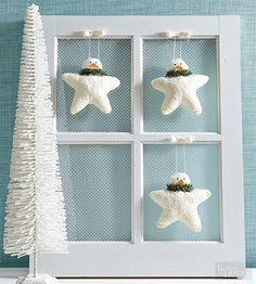 These crafty ornaments are a new spin on a classic winter figure. All glittered up and star-shaped, they look like snowman snowflakes. Draw a rounded star shape to use as a pattern. Trace and cut out two shapes from white batting; pin together. Sew the shapes together along the edges, stuffing with fiberfill as you go. Stitch a long white string through the top of the head for a hanging loop. Thin decoupage medium with a bit of water. Brush mixture all over star, coating the edges and…