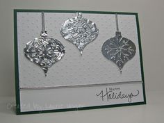 """By Laurie Unger. Christmas card. She used silver metal tape that is self-adhesive. It says """"Nashua"""" on the inside of the tape roll, & she thinks it's used for taping metal pipes & can be found at Home Depot or Lowes. I'm going to look for it. It sounds even easier to use than aluminum foil and has a great shine!"""