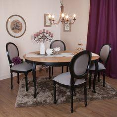 Table haute forme ronde en bois massif design - Table de salle a manger avec rallonge et chaises ...
