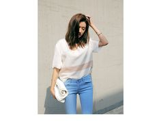 Stripe Accent High-Low T-Shirt (Ivory) | STYLENANDA