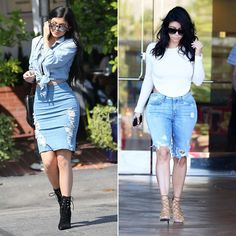 Kylie Jenner and Kim Kardashian's distressed denim look is specifically for weekend errands.