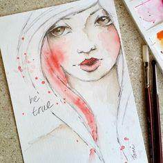 """be true"" today's watercolour girl. #watercolorgirl #redcheeks #facesketch…"