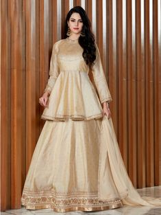 RATE : 2610 - Luxuria By Bela Fashion 2502 To 2508 Series - top - australian + viscos butti dupatta - georgett inner - americanGolden Silk Designer Lehenga Choli with Peplum BlouseBuy Indo Western Party Wear Dresses and Clothing OnlineBuy Cream Austr Party Wear Indian Dresses, Designer Party Wear Dresses, Indian Gowns Dresses, Indian Fashion Dresses, Indian Designer Outfits, Designer Wear, Designer Kids, Designer Sarees, Dress Party