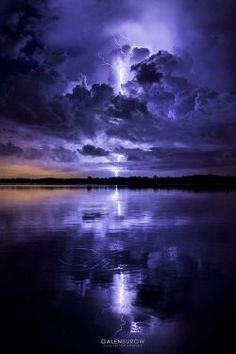 ~~Thunder Bay, Tampa, Florida lightning bolt lights up the sky a deep purple during a thunderstorm by Galen Burow~~ Beautiful Sky, Beautiful World, Beautiful Landscapes, Nature Pictures, Cool Pictures, Beautiful Pictures, All Nature, Amazing Nature, Landscape Photography