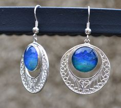 Opal and Sterling Silver Dangle Earrings Cradled by Crystalsidyll