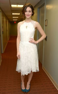 Emmy Rossum looks girly in Katharine Kidd's white lace dress at Anderson Live's backstage in New York.
