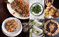 For an elegant fall dinner party, let the season's hearty vegetables take center stage with a completely meat-free menu featuring leek and potato soup, brussels sprouts and kale salad, and a satisfying farro and butternut squash risotto. Vegetarian Menu, Vegetarian Thanksgiving, Thanksgiving Recipes, Fall Recipes, Dinner Recipes, Harvest Menu, Dinner Party Menu, Dinner Parties, Fall Dinner