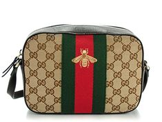 789f6fc4651e Amazon.com: Gucci Bee Brown Web Camera Case Webby Red Stripe Camera Leather  Bag Italy New: Shoes