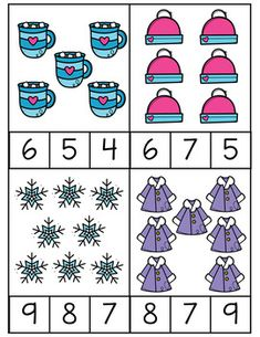 Winter Counting Clip Cards by Jenny-Lynn Creations Preschool Rooms, Preschool Games, Preschool Crafts, Activities For Kids, Daycare Themes, Christmas Worksheets, Math Projects, Winter Kids, Crafts For Kids To Make