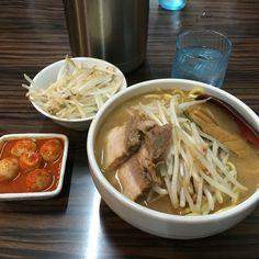 味噌麺処 花道 味噌ラーメン 野菜増し サービス 大盛り チンピラ玉子 ¥800、¥100¥、¥150