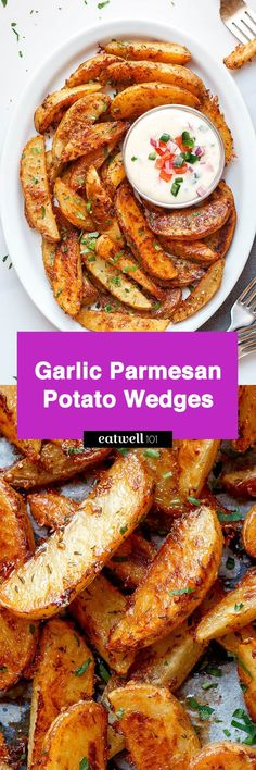 Extra Crispy Baked Garlic Parmesan Potato Wedges Baked Garlic Parmesan Potato Wedges - Crispy on the outside and tender on the inside, they will blow you away with their simplicity and fantastic flavor! Parmesan Potato Wedges, Garlic Parmesan Potatoes, Potato Wedges Recipe, Potato Wedges Baked, Baked Garlic, Parmasean Potatoes, Crispy Potatoes, Russet Potatoes, Roasted Potatoes