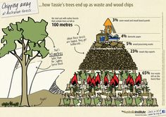 Ever wondered what happens to Tasmania's beautiful native forests when they are logged? The answer will shock you! As our latest infographic shows just 3% is used for sawn  wood and wood-based panels. A STAGGERING 65% GETS LEFT TO ROT (OR  BURN) ON THE FOREST FLOOR, while 23%  gets turned into wood chips for export. Contrary to the claims of the industry, the main product from native forestry is waste!*