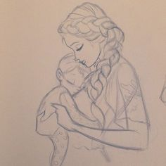and baby drawing Happy Mothers Day! Easy People Drawings, Easy Disney Drawings, Easy Doodles Drawings, Drawing People, Cute Drawings, Mom Drawing, Drawing For Kids, Drawing Sketches, Children Drawing