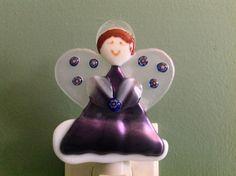 Fused Glass Angel Night Light by LaGlasSea on Etsy