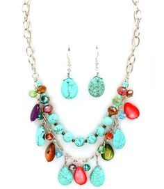 Turquoise Multi Color Beaded Necklace Set