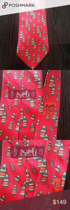 Authentic Hermes Matryoshka doll tie Great condition. Authentic. Hermes Accessories Ties