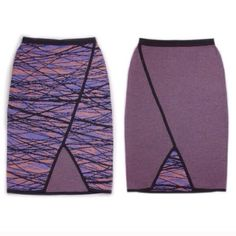 """NWT Knit Pencil Skirt 100% Cotton. 3 color pattern. Black, coral, purple. 1 side is a 3 color cocoon pattern, the other side is multi-color no pattern. Waist is 12"""" laying flat and stretches. Length is 22"""". We believe in price transparency. A breakdown of our costs: Material $4, Labor $26, Duties/Transport $10, Poshmark Fee $20, Our Earnings $40. Made in Shanghai. Go to our website for factory tour video under 'About Us'. Hand wash cold, lay flat to dry, lightly steam. IG: @emilykellerco…"""