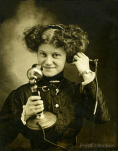 This is one of many images of people on the phone I have got access to from my friend Richrd. They are pretty kitchy. What date would you put on this? 1915? More telephone shots to come.