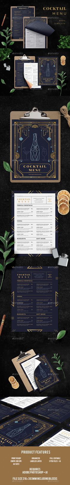 Cocktail Menu — Photoshop PSD #night out #alcohol • Download ➝ https://graphicriver.net/item/cocktail-menu/20383927?ref=pxcr