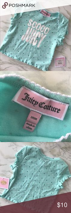 Juicy Couture NWT Mint Sooo Juicy T-Shirt Sz 3-6M Let your little one be the most stylish baby in daycare with her own Juicy Couture top! Originally part of a two piece set, but this listing only includes the top. From a smoke free home, brand new with tags, never worn or washed. Check out the rest of my closet to create your own custom bundle. Juicy Couture Shirts & Tops