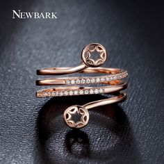 Find More Rings Information about NEWBARK Ring Cubic Zirconia Diamond Gold…