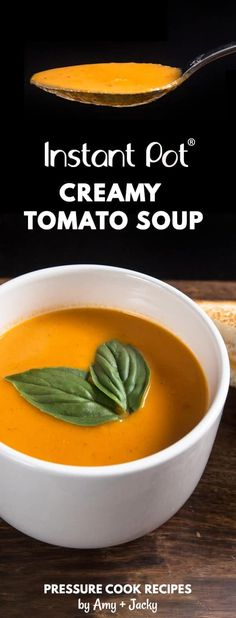 Make this Creamy Instant Pot Tomato Basil Soup Recipe (Pressure Cooker Tomato Soup)! This homemade tomato basil soup from scratch (with vegan option) is healthy, super easy to make, and freezer-friendly. Perfect dip for the toasted golden grilled cheese. Instant Pot Pressure Cooker, Pressure Cooker Recipes, Pressure Cooking, Homemade Tomato Basil Soup, Tomato Soup Recipes, Slow Cooker Tomato Soup, Homemade Soup, Cooking Recipes, Healthy Recipes
