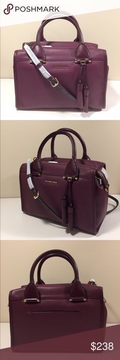 "Michael Kors Geneva Large Satchel pebble leather softly pebbled leather craftsmanship and spacious,  streamlined silhouette that holds your wallet, keys and more.  Designed with sturdy top handles, an adjustable shoulder strap  and an external slip pocket, it offers the utmost in convenient versatility.   -Color plum -Pebbled Leather  -Gold Hardware  -11  1/2 "" W X 8"" H X 6"" D  -Handle: 5.25""""  -Adjustable Strap: 19.5""-22""  -Interior: 1 Open Pocket, 1 Zipper Pocket  -Exterior: 1 Snap Pocket…"