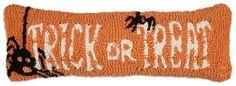 "Trick or Treat 8""""x24"""" Lumbar Hooked Wool Pillow"