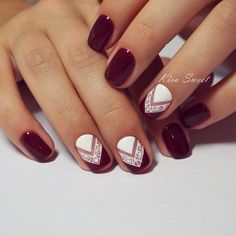 18 Chic Nail Designs for Short Nails: #17. Chic Maroon And White Nail Design                                                                                                                                                                                 More