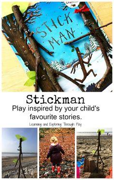 Make a stickman family. Activities inspired by Stickman by Julia Donaldson. Gruffalo Activities, Eyfs Activities, Hands On Activities, Preschool Activities, Activities For Kids, Forest School Activities, Kindergarten Reading Activities, Literacy, Outdoor School