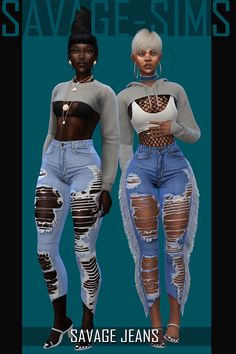 -SAVAGE JEANS SET- items) Savage Jeans Fringed: A pair of highly destroyed denim jeans with fringes down the side. swatches) Savage Jeans Un-fringed: A pair of highly destroyed denim jeans without fringes. Sims 4 Mods, Sims 4 Body Mods, Sims 4 Game Mods, Sims 4 Teen, Sims Four, Sims 4 Toddler, Sims Cc, Toddler Hair, Hair The Sims 4